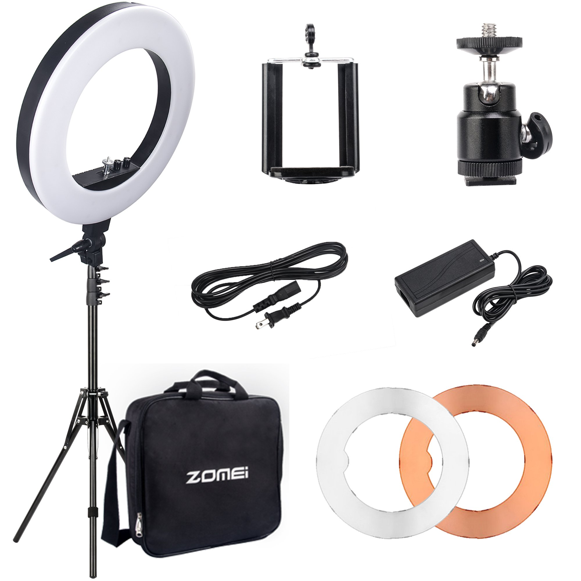 "18""Dimmable LED Ring Light, ZOMEi 5500k Output SMD LED Youtube Video and Makeup Ring Light with Stand, Plastic Color Filter With Portable Carrying Bag"