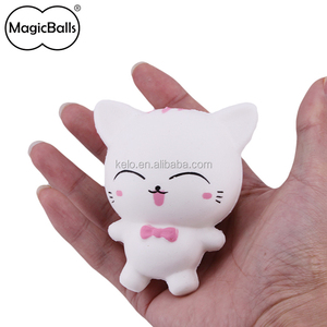 Cheap Mini 75L*55W*88H mm White Cartoon PU pussy squishy cat stress relief toys gift anti stress toy