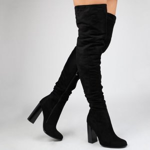 e7258fa3269 2017 Pre Fall Winter sexy long boots Black faux suede high heels shoes for  women Over The Knee Boots block heel