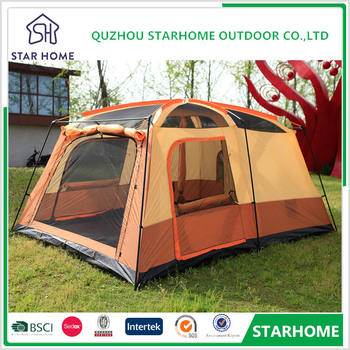 Fiberglass Pole Material Outdoor Camping Family Tent Stylish Large Tents Two Bedrooms Shelter