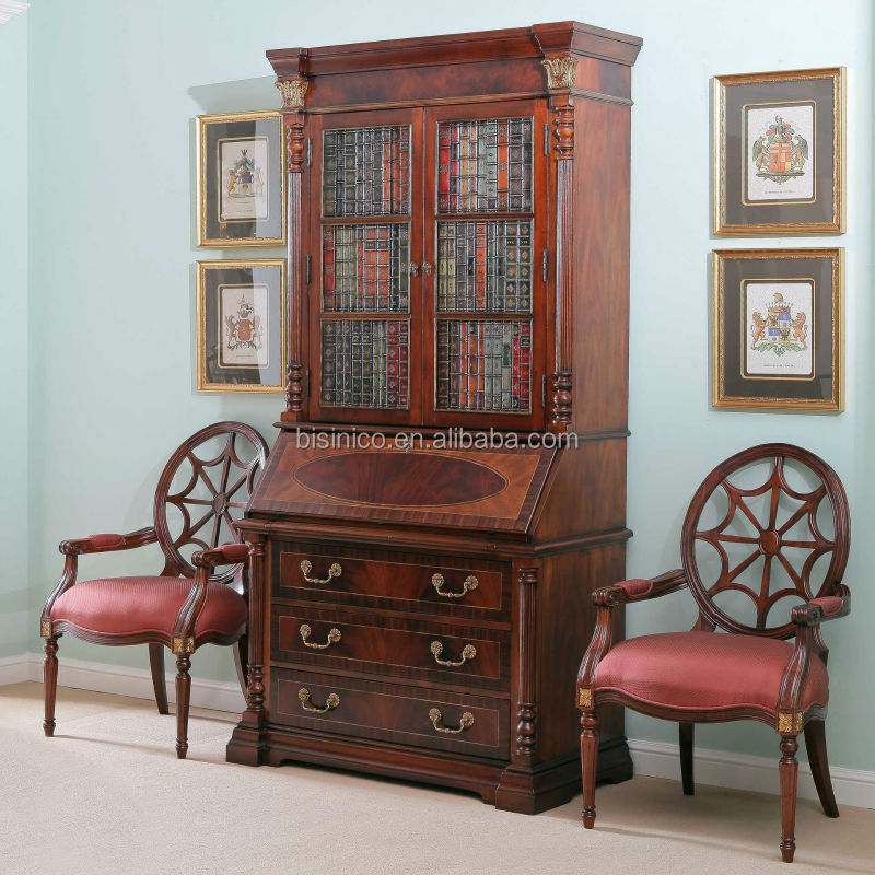 Vintage Secretary Cabinet With Drop Down Desk Writing Hand Painted Bookshelf Curio