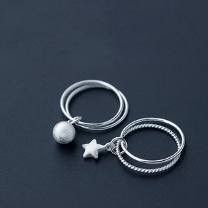 Korea Hot Style Pure 925 Sterling Silver Simple Fashion Frosted Beads Star Double Ring Jewelry for Women