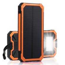 PowerGreen Waterproof LED Light Solar Charger 15000mAh Solar Powered Power Bank for 5V Digital Devices
