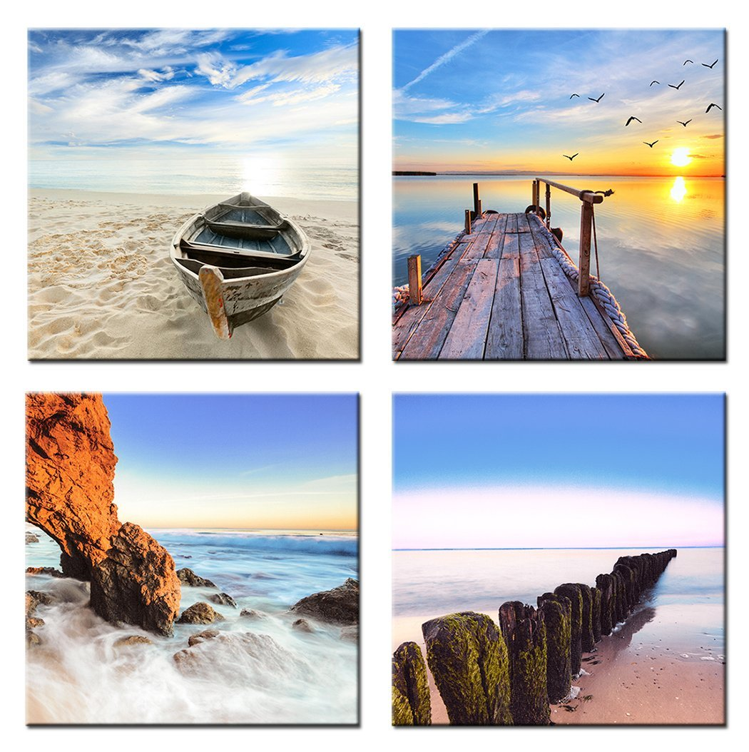 Home Art - Modern Art Seascape Giclee Canvas Prints Framed Canvas Wall Art for Home Decor Perfect 4 Panels Wall Decor Sea Beach Photos Paintings for Living Room Bedroom Dining Room Bathroom Office