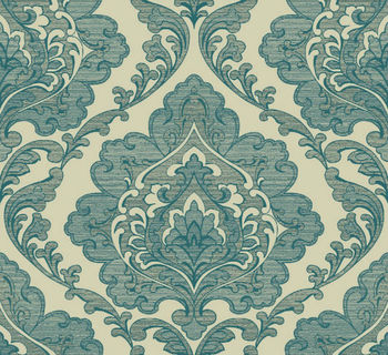 detai big damask design wallpaper in blue color pure paper wallpaper