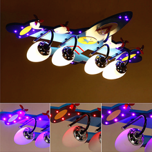 ABS wooden base aircraft decorative LED light wireless remote control chandelier