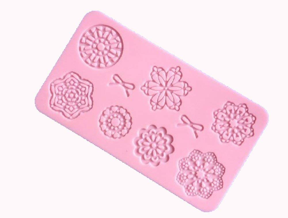 Longzand Molds HY1-156 DIY Cake Decorating Mold with Bow Flower Lace Mold Mat, Fondant Mold and Silicone Sugar Craft Molds, Pink