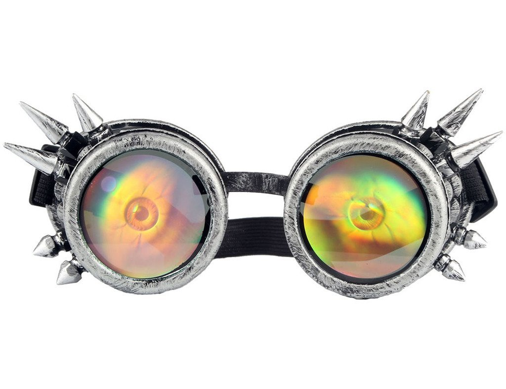 Lelinta Halloween Spiked Vintage Steampunk Goggles Glasses Welding Cyber Punk Gothic With Eye Lens