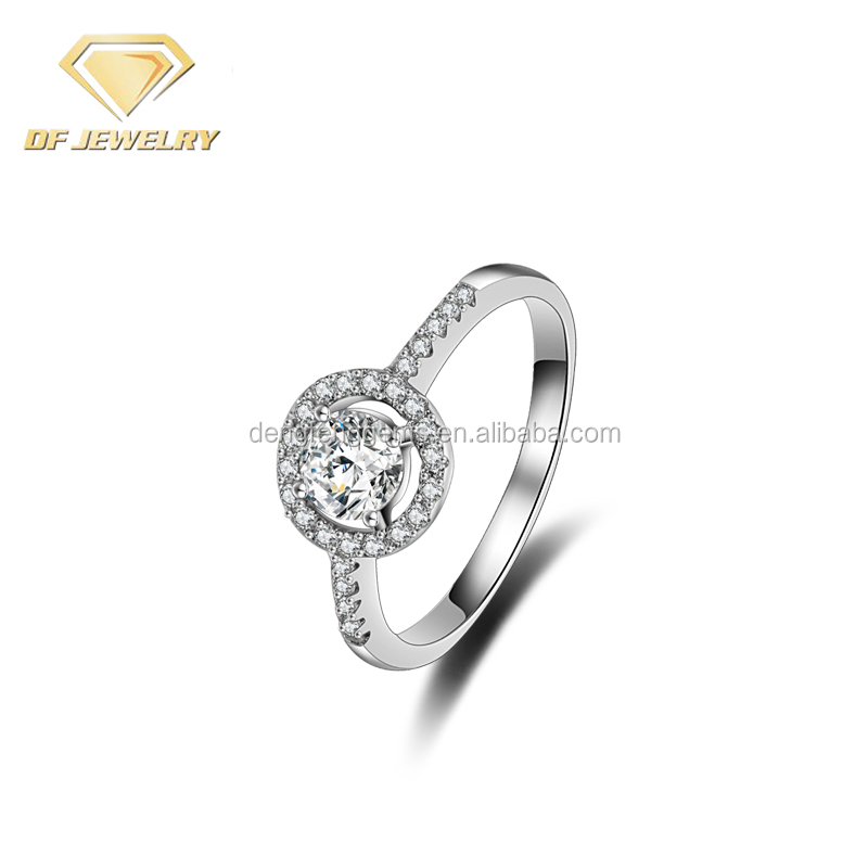 Fashionable Jewelry Round CZ Diamond Wedding Silver Rings