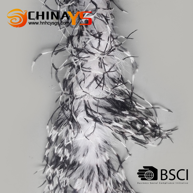 BSCI audit Tippy black dyeing white wholesale ostrich feathers 1.8m long on promotion