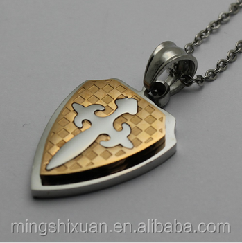 MSX jewelry Cross Knight Shield Stainless Steel Pendant body chain jewelry for men