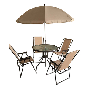Outdoor Folding Patio Garden 6pcs table Dining 4 folding Chairs with Umbrella Set