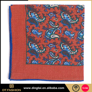 Woven wool handkerchiefs mens skinny tie large floral pocket square