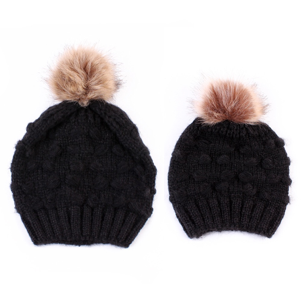 Child Winter Hat Mommy and Me Warm Chunky Knit Hat Crochet Family Matching Beanie  Cap f36999af957
