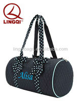 Personalized Women' Large Black Polyester Fabric Quilted Weekender Duffle Bag with Zebra Print Accent