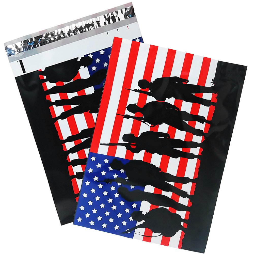 10x13 Solders Poly Mailers, Designer Shipping Bag Custom Boutique Envelopes, Red White and Blue Flag Military Plastic Mailers (100)