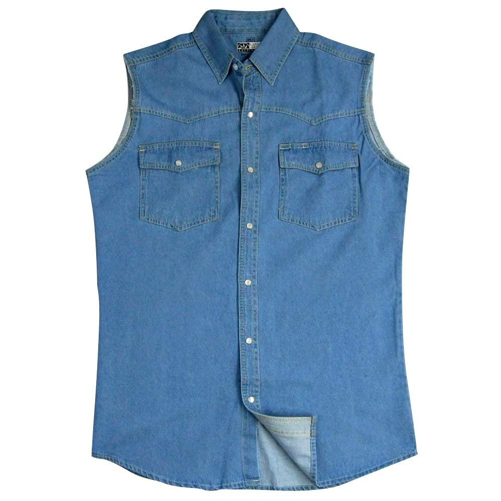 13f52446 Get Quotations · Canyon Guide Men's Sleeveless Denim Biker Shirt; Western Snap  Front