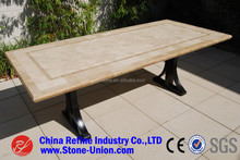 China factory direct wholesale travertine beige marble dining table