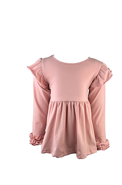 Long sleeve design baby casual flower ruffle party dress cotton flounce little girls dress