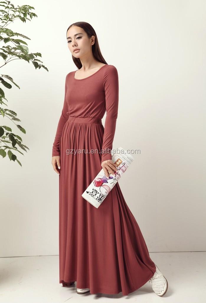 2015 Fashion muslim women dresses designs long sleeve maroon jersey cheap maxi  dress fc947166d