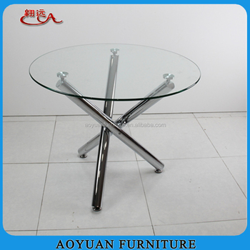 Criss Cross Chromed Legs 1000mm Round Glass Top Dining Table Buy