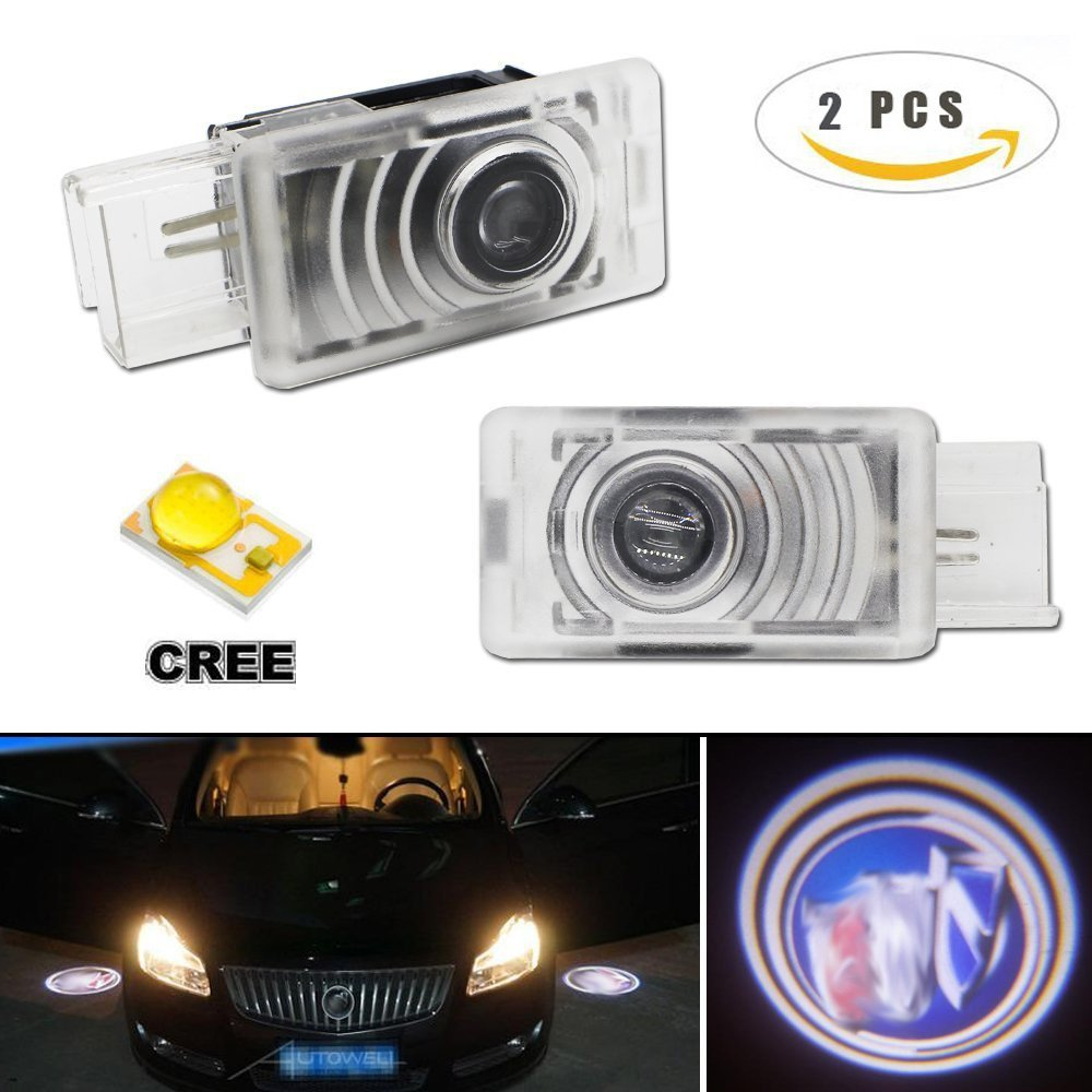 2 Pcs Car Door LED Logo Lights Projector Courtesy Step Light Super Bright Laser Projector Logo Lights CREE LED for Buick LaCrosse Regal Envision Easy Installation No Drill Type - No Drilling Required