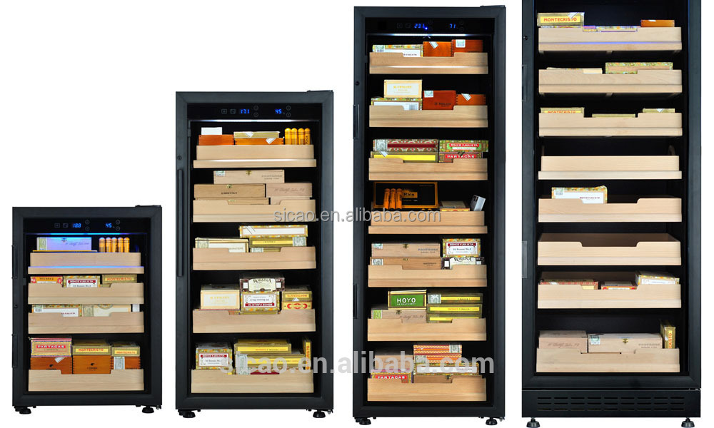 Double Layers Glass Door Electric Cigar Humidor Cabinet For Home ...