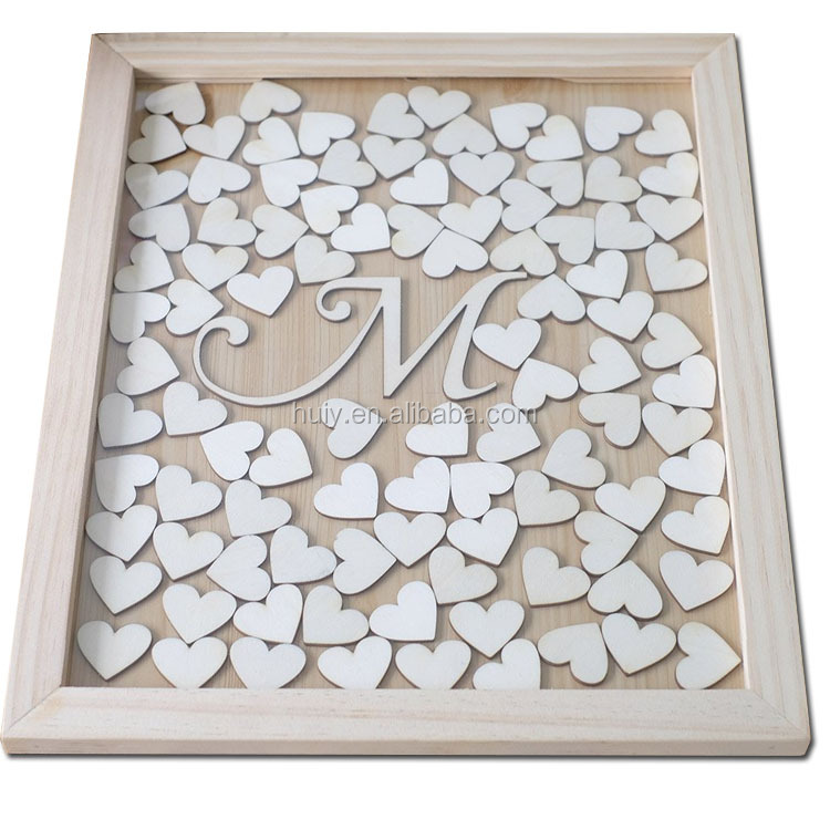 unique wedding party wooden guest book box
