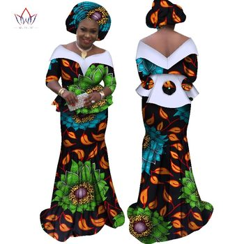 African Traditional Clothing Dresses for Women Half Sleeve Tops + Maxi Dress Party Dresses African Print Clothes 6XL BRW WY2310