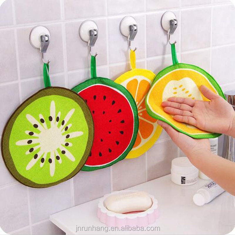 Small Fruit Print Kitchen Cotton Cleaning Hand Towel with ties