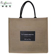 Jute Material And Handled Style Wooden Handle Shopping Bag