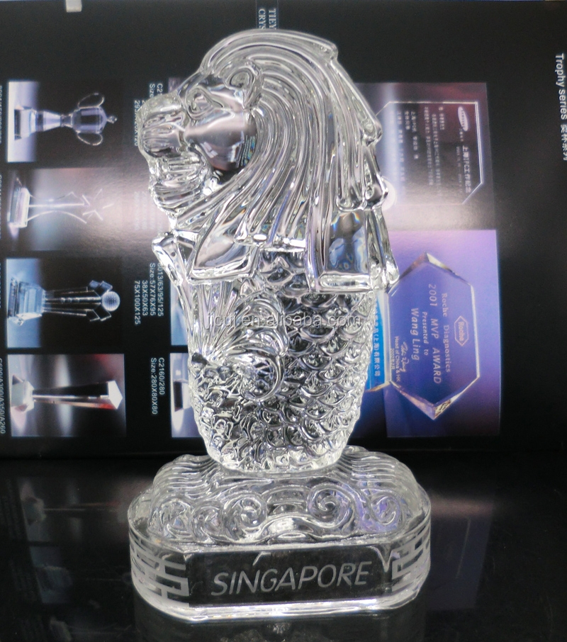 Wholesale Singapore Merlion Crystal Building Model Crystal Souvenirs Gifts