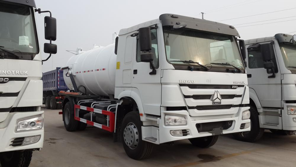 Sinotruk HOWO 12m3/12000liter Jetting and vacuum sewage suction tanker truck,Vacuum Sewage Suction Combined Jetting