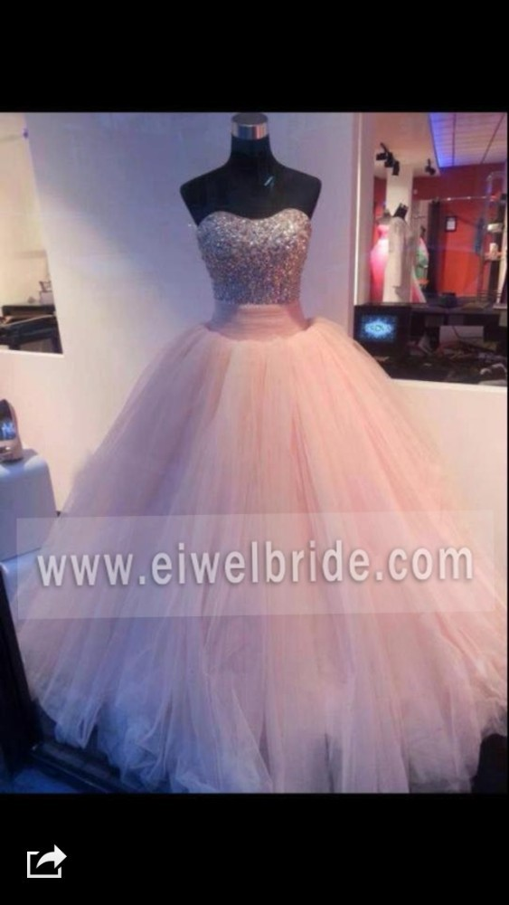 Shiny beaded corset puffy tulle pink wedding and evening dress