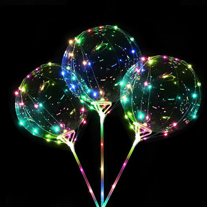 Wholesale Party Decorative Glowing String Inflatable White Christmas Helium PVC Flashing Light Up Stick TPU Bobo Led Balloon
