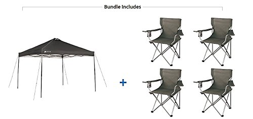 Ozark Trail Instant 10x10 Durable, Outdoor, Camping, Straight Leg Canopy with 4 Grey Chairs Value Bundle
