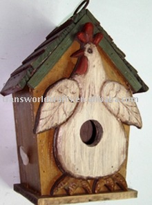 antique solid wooden bird house with chicken pattern