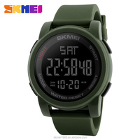 SKMEI 1257 factory price wr 50m champion dual time countdown bracelet Army Green Black Military silica gel sport watch
