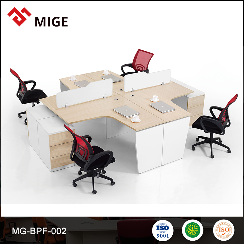 Fashion Design Wooden Cubicle 4 Person Office Workstation Desks modular partition wall systems MG-BPF-002