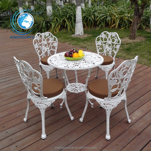 2018 Fashion Durable Outdoor Garden White Patio Cast Iron Bistro Dining Set