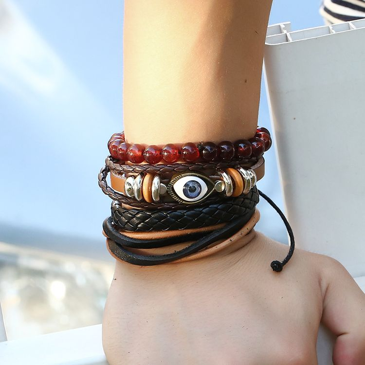 2018 New Arrival Custom Bracelets In Bulk Retro Men's Multilayer Braided Leather Bracelet Turkish Eye Jewelry
