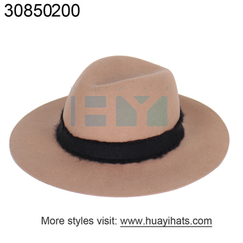 6e4761c8825 Promotional Custom Logo Hot Sales Wool Floppy Hats Outdoor Winter Huayi Hat  Caps Elegant Ribbon Band