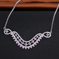 Fashion 925 Sterling Silver Diamond Necklaces Pink and white Cz stone Pendant for Bride