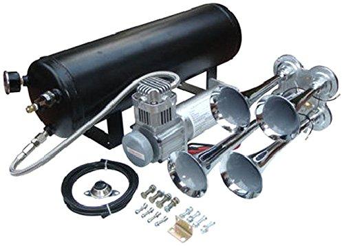 Viking Horns V101C-5/4008 Loud 149 Decibles Chrome 4 Trumpet Train Air Horn Kit With 3 Gallon Air Tank/Compressor