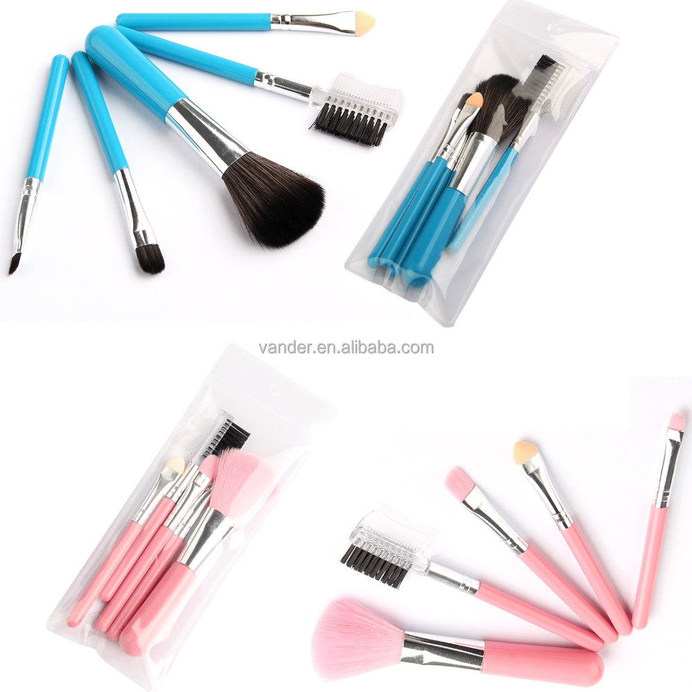 5Pcs Pro Pink/Blue Makeup Brushes Set Cosmetic Foundation Powder Blush Kit Travel Set