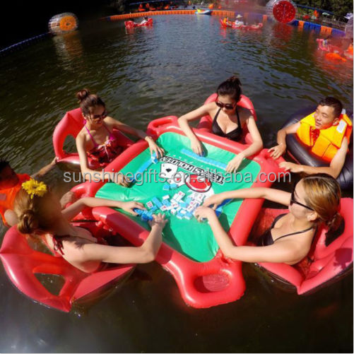 NEW 4-Person Pool Bar Island Float Inflatable Raft Water Party with Drink Holder