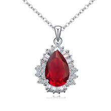 New fashion design for women 18K white gold plated big ruby stone necklace
