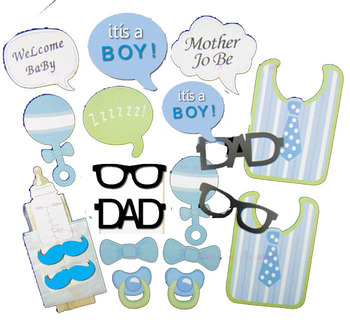 20pcs Baby Shower Boy Decoration Blue Bb Bibs Milk Bottle Photo