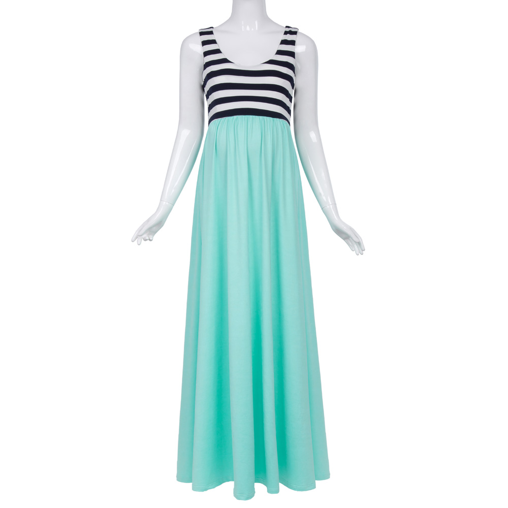 1311039714a5a Kate Kasin Women's Aquamarine Striped Patchwork Sleeveless U-Neck Maternity  Maxi Tank Dress KK000676-