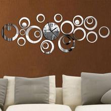 2015 New Sale 3d Acrylic Mirror Wall Clock Clocks Reloj De Pared Watch Large Decorative Quartz Living Room Modern Freeshipping